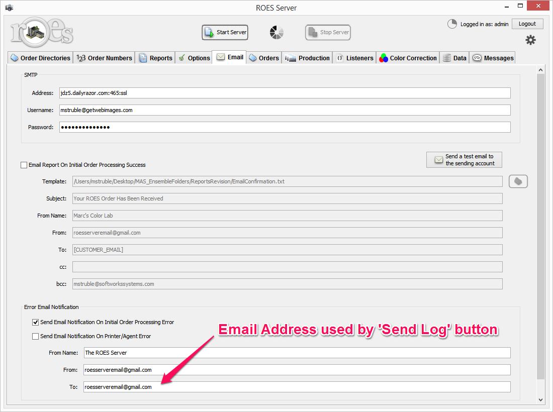 ROES Server Send Log Address